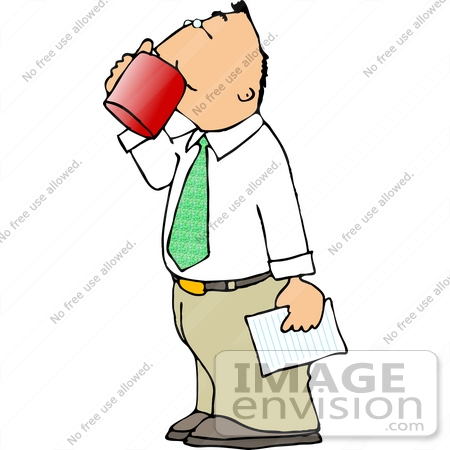 Middle Aged Caucasian Business Man Drinking Coffee From a Mug.
