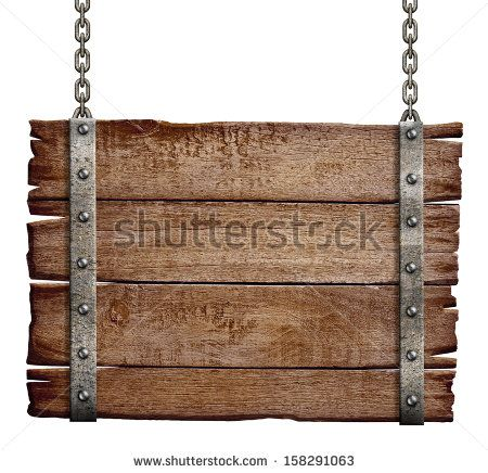 old wood signboard hanging on chain.