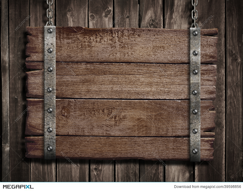 Medieval Wood Sign Over Old Wooden Plaque Stock Photo.