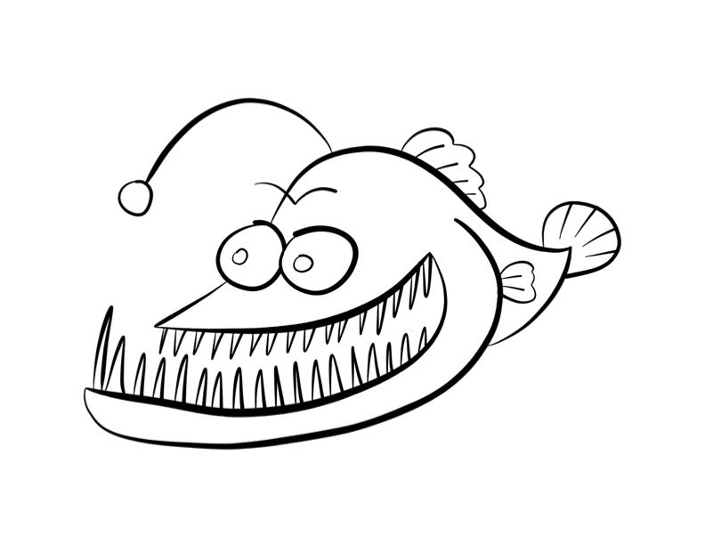 Anglerfish coloring page.