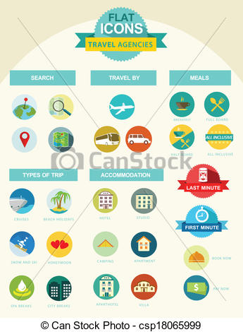 EPS Vectors of Flat icons for travel agencies.