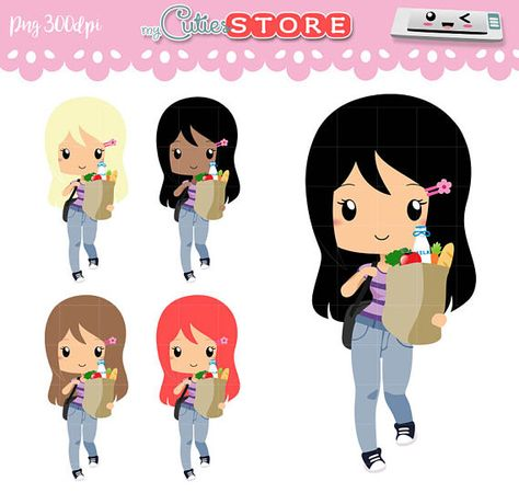 Chibi Groceries Kawaii Clipart Set for Planner stickers.
