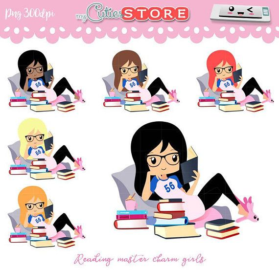 Chibi Girl clipart, reading clipart, kawaii clipart, me time.