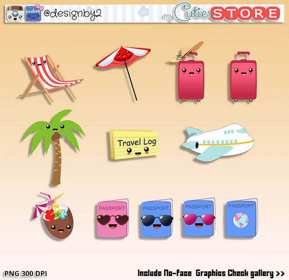 Holidays kawaii clipart, vacations clipart set, travel case.
