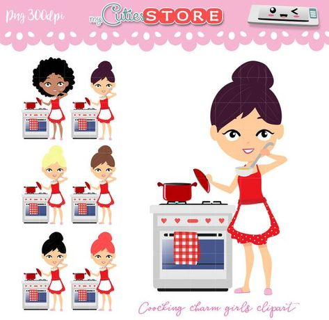 Clipart woman cooking in the kitchen, digital graphics set.