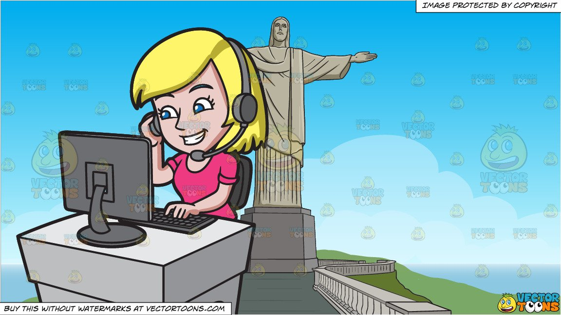 A Cute Female Call Center Agent and Christ The Redeemer Background.