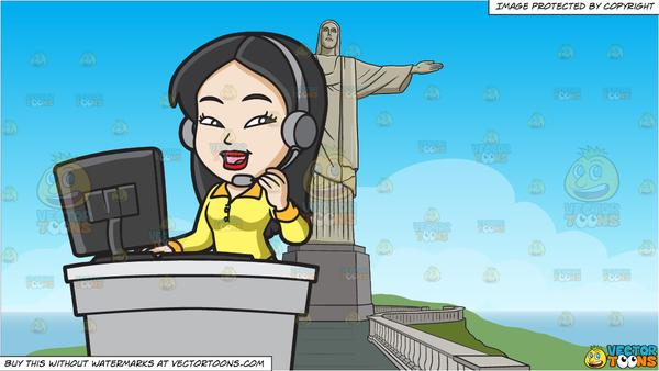 An Asian Female Call Center Agent and Christ The Redeemer Background.