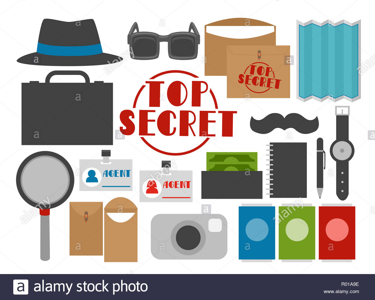 Illustration of Secret Agent Party Elements like Hat.