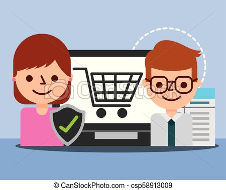 businessman agent woman laptop check mark shopping online.