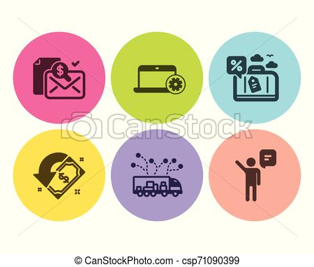 Cashback, Notebook service and Truck delivery icons set. Accounting report,  Travel loan and Agent signs. Vector.
