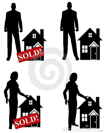 Real Estate Agents Clip Art Stock Image.