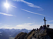 "Stock Images of ""Summit cross and prayer flags, Mt Aggenstein, the."