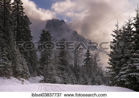 "Picture of ""Peak of Mt Aggenstein engulfed in clouds with a winter."