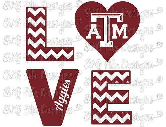 Chevron Love Texas A&M Aggies Football Logo by SVGFileDesigns.