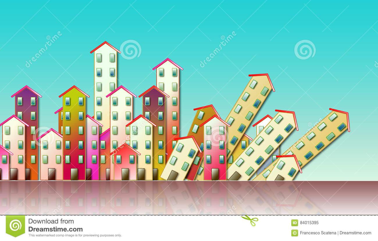 Demolition Of An Urban Agglomeration Stock Illustration.