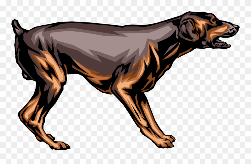 Vector Illustration Of Family Pet Guard Dog In Aggressive.