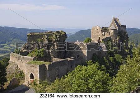 Stock Photo of Castle on hill, Aggstein Castle, Wachau, Lower.