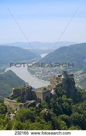 Stock Image of Old ruin of castle at hilltop, Schloss Aggstein.