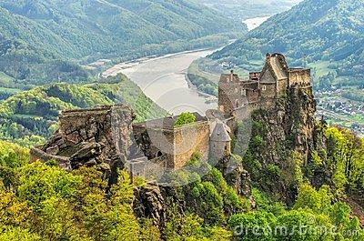 Aggstein Castle Stock Photo.
