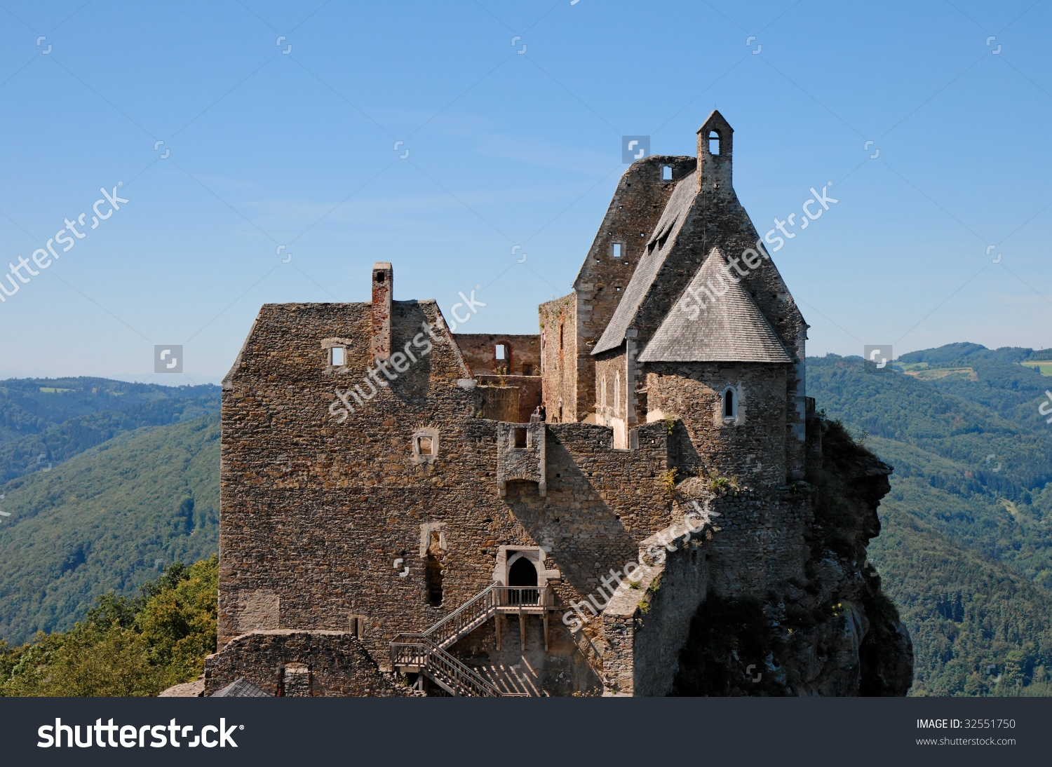 Towers Roofs Medieval Aggstein Castle Donau Stock Photo 32551750.