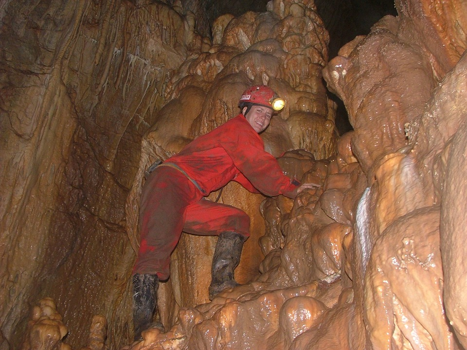 Free photo: Caver, Slippery, Meteor Cave.