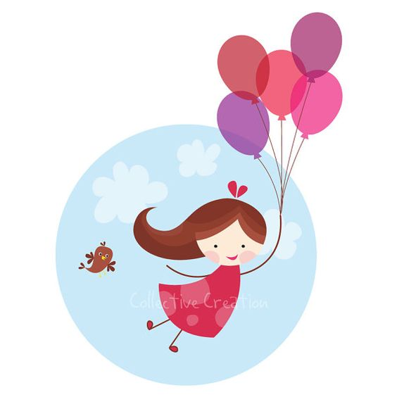 Balloon Girl Digital Clip Art Set.