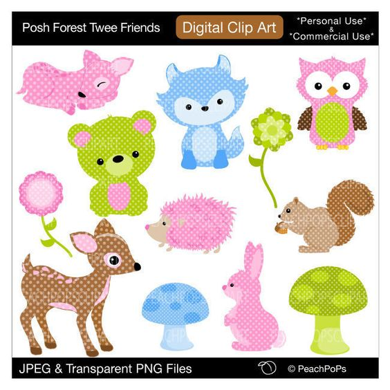 Posh Twee Forest Friends Digital Clip Art by Peach Pops Clip Art.