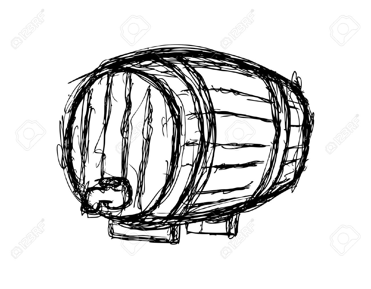 Wine Barrel Isolated On White Background Royalty Free Cliparts.