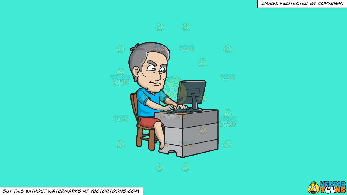 Clipart: A Mature Man Gets Agitated While Using The Computer on a Solid  Turquiose 41Ead4 Background.
