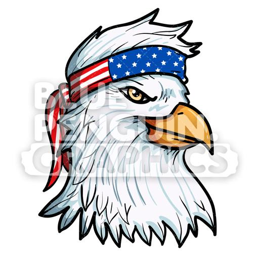 Cool Eagle with American Flag Bandana Vector Cartoon Clipart.