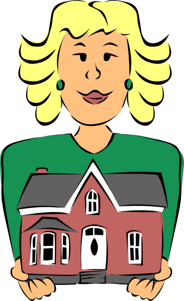 Real Estate Agent Holding House Clip Art.