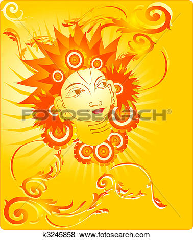 Stock Illustration of Lord Agni in floral background k3245858.