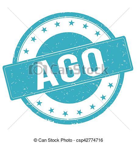 AGO stamp sign cyan blue..