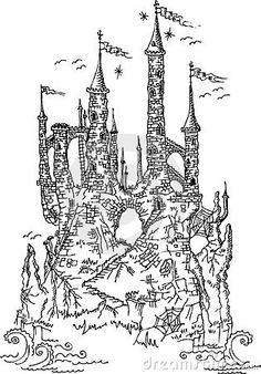Black and White Castle Royalty Free Clipart Picture.