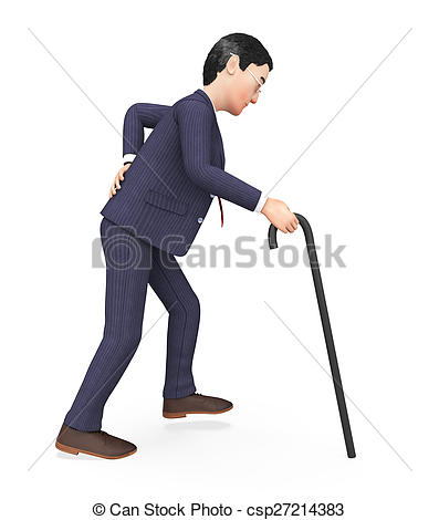 Stock Illustration of Man With Backache Represents Agony Pang And.