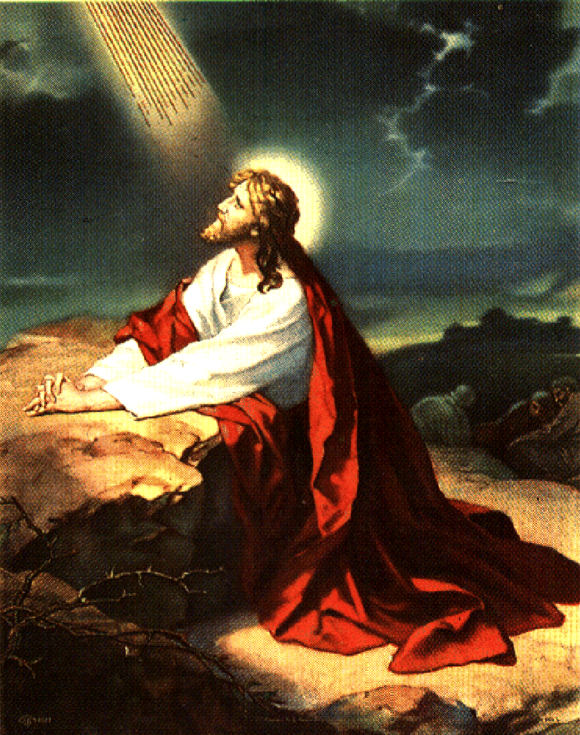 Bright drawing picture of Jesus praying to God in the.