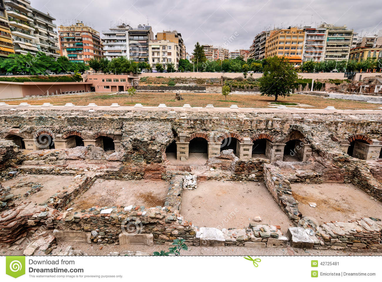 Roman Forum, Ancient Greek Agora In Thessaloniki Stock Photo.