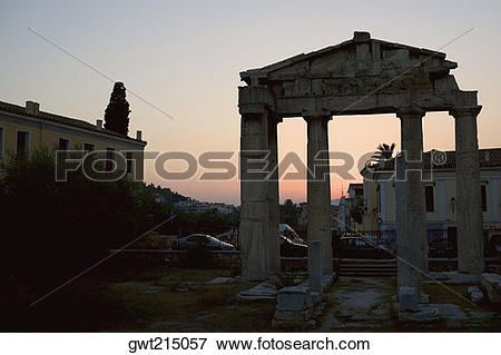 Picture of Old ruins in front of buildings, Roman Agora, Athens.