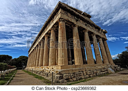 Stock Image of Temple of Hephaestus in Ancient Agora, Athens.