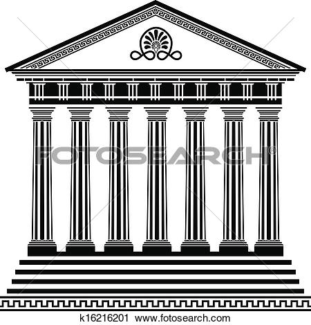 Clip Art of Greek temple stencil k16216198.
