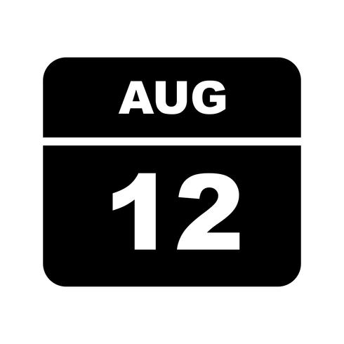 August 12th Date on a Single Day Calendar.
