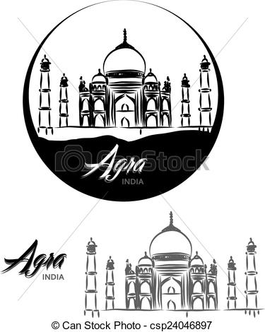 EPS Vectors of TOURISTIC LABEL Agra India lettering illustration.