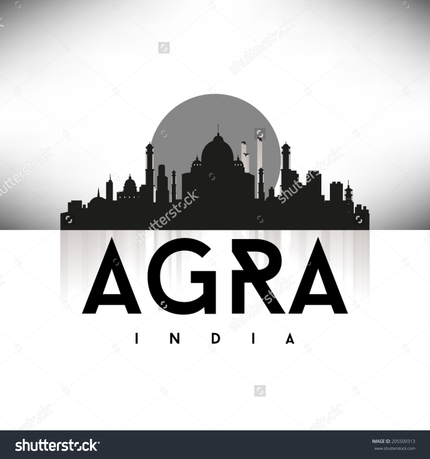 Agra India Black Skyline Silhouette Vector Stock Vector 205509313.