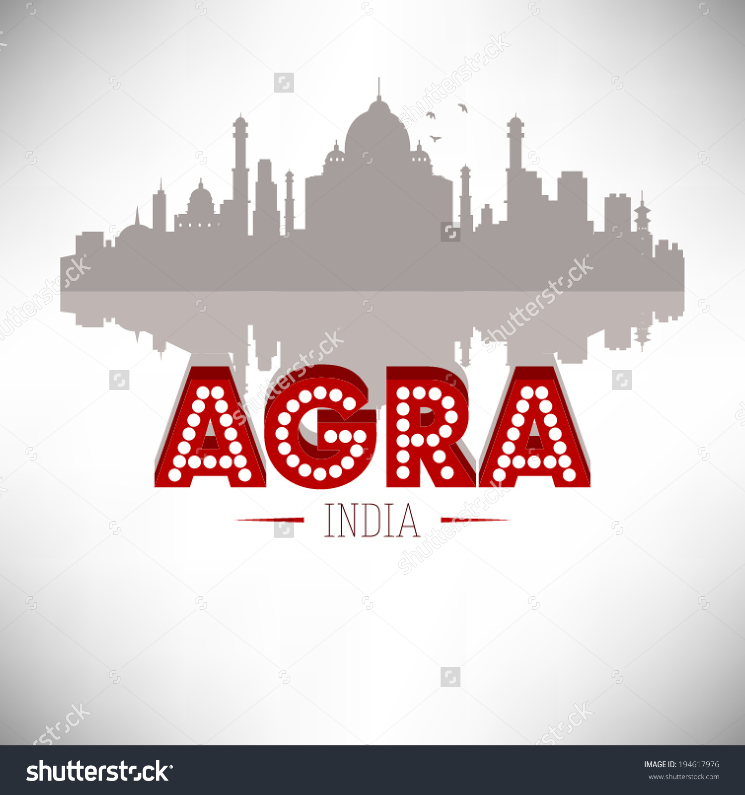 Agra India Skyline Silhouette Design Vector Stock Vector 194617976.