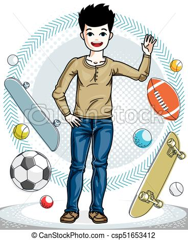 Adolescente niño, moda, illustration., lindo, joven, clothes.
