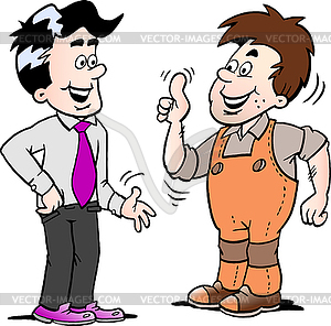 Cartoon two men there has agreed deal.