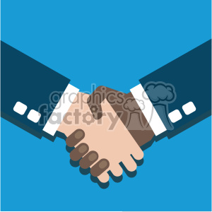 hand shake partner agreement african american white flat design vector art  clipart. Royalty.