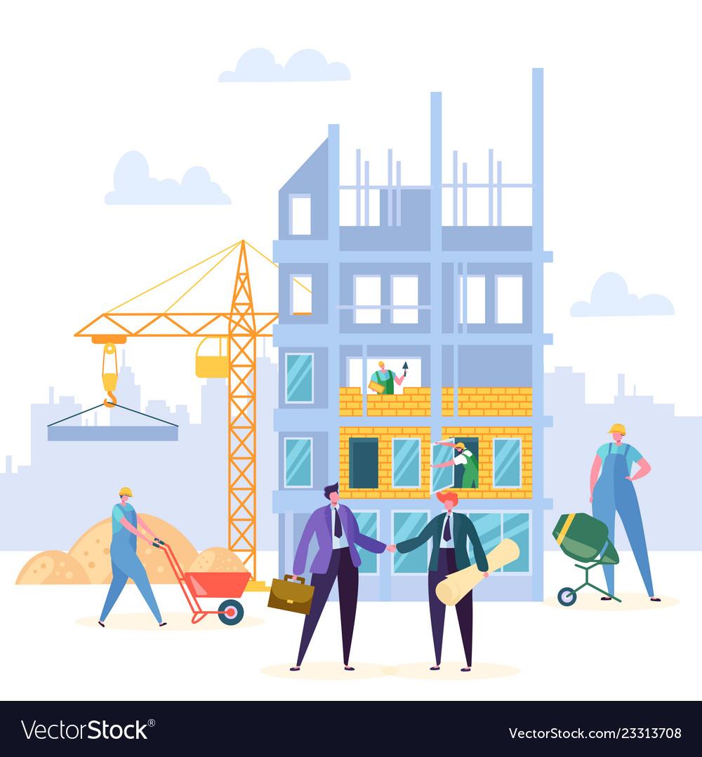 Building agreement handshake construction.