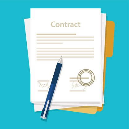 signed paper deal contract icon agreement pen on desk flat.