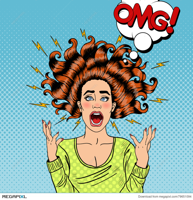 Pop Art Aggressive Furious Screaming Woman Illustration.